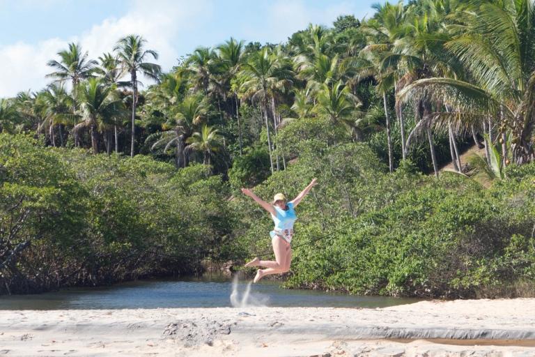 Paula jumping at Praia do Espelho