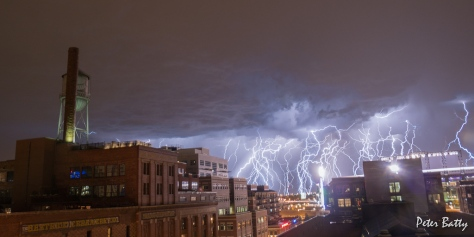A composite image made from 38 lightning strike photos over the space of 14 minutes, in downtown Denver.